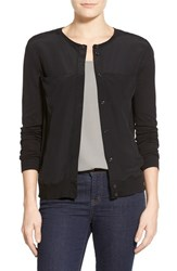 Women's Halogen Woven Front Knit Cardigan Black