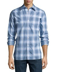 Tom Ford Miniature Plaid Cotton Button Front Shirt Navy