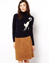 Orla Kiely Roll Neck Jumper In Mohair With Cat Intarsia Navy