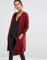 Selected Laua Long Sleeve Knit Cardigan Cabernet Red