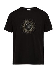 Saint Laurent Sequin Embellished Sun Print Cotton T Shirt Black