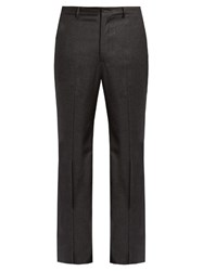 Bottega Veneta Slim Fit Wool Blend Flannel Trousers Charcoal