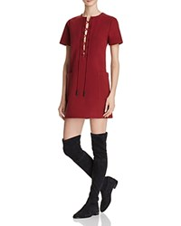 Kendall And Kylie Safari Lace Up Dress Bordeaux