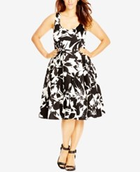 City Chic Plus Size Floral Print Fit And Flare Dress Black