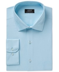 Alfani Men's Classic Regular Fit Performance Stretch Easy Care Step Twill Texture Dress Shirt Created For Macy's Teal