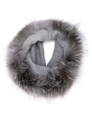 Eleventy Fur Trimmed Knitted Scarf Grey