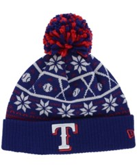 New Era Texas Rangers Sweater Chill Pom Knit Hat Navy Red