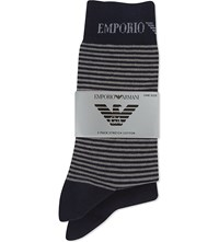 Emporio Armani Plain And Striped Socks 2 Pack Navy