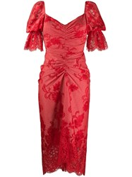 Three Floor Clementina Lace Draped Dress Red