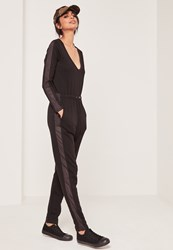 Missguided Loopback Mesh Side Detail Jumpsuit Black