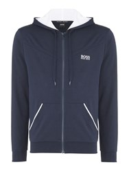 Hugo Boss Men's Chest Logo Hooded Lounge Sweatshirt Navy