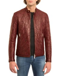 Stefano Ricci Tiled Calf Leather Jacket Red