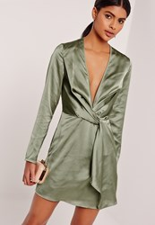 Missguided Silky Plunge Wrap Shift Dress Green