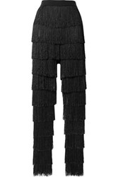 By Malene Birger Zelma Fringed Fishnet Slim Leg Pants Black