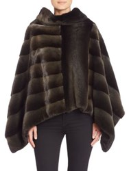 The Fur Salon Cowlneck Diagonal Mink Fur Poncho
