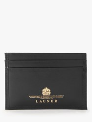 Launer Slim Leather Four Credit Card Holder Ebony Black