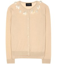 Simone Rocha Wool Silk And Cashmere Embellished Cardigan Beige