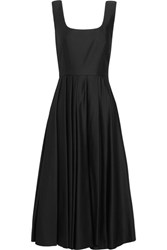 Awake A.W.A.K.E. Pleated Satin Jersey Dress Black