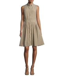 Michael Kors Collection Sleeveless Button Front Shirtdress Sand Brown Women's Size 4