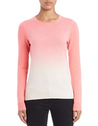 Lord And Taylor Dip Dyed Cashmere Crewneck Plumeria