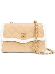 Chanel Vintage Quilted Border Flap Bag Nude Neutrals