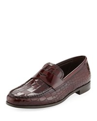 Giorgio Armani Croc Embossed Patent Leather Penny Loafer Wine