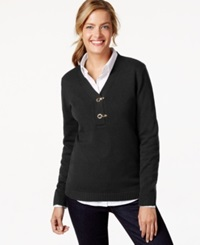 Charter Club Long Sleeve V Neck Sweater Only At Macy's Deep Black