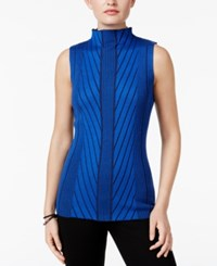 Joseph A Mock Neck Ribbed Knit Sweater Cobalt
