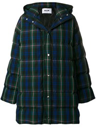 Msgm Plaid Quilted Coat Green