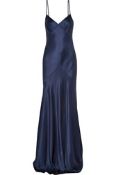 Amanda Wakeley Silk Satin Gown Blue