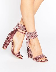 Missguided Crushed Velvet Wrap Around Heeled Sandal Pink