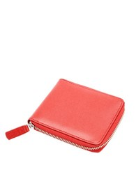 Royce Saffiano Leather Zip Around Wallet Red