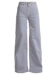 Rockins Mega Loon High Rise Wide Leg Striped Jeans Blue Stripe