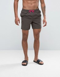 Asos Swim Shorts In Dark Grey With Neon Pink Drawcords In Mid Length Grey