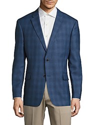 Tommy Hilfiger Regular Fit Plaid Wool Sportcoat Blue
