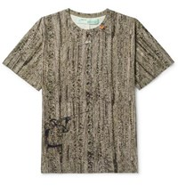 Off White Oversized Printed Cotton Jersey T Shirt Green