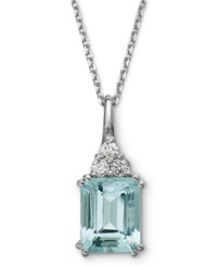 Macy's 14K White Gold Necklace Aquamarine 3 1 5 Ct. T.W. And Diamond 1 5 Ct. T.W. Pendant Blue