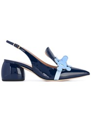 Anya Hindmarch Sling Back Pointy Pumps Women Leather Patent Leather 36 Blue