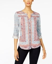 Style And Co Printed Roll Tab Blouse Only At Macy's Nomadic Fog