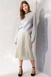 Kimchi And Blue Alexis Shimmer Pleat Midi Skirt Silver