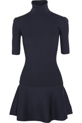 Michael Michael Kors Ribbed Stretch Knit Turtleneck Mini Dress Midnight Blue