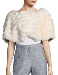 Tahari By Arthur S. Levine Brooch Detailed Faux Fur Capelet Champagne