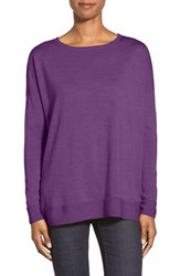 Petite Women's Eileen Fisher Ballet Neck Boxy Merino Knit Top African Violet
