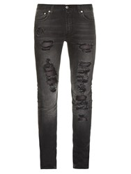 Alexander Mcqueen Destroyed Skinny Jeans Black