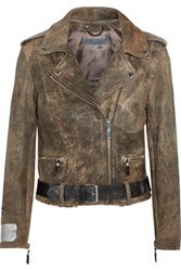 Golden Goose Deluxe Brand Mini Chiodo Calf Hair Trimmed Leather Biker Jacket Gray Green