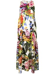 Blugirl Floral Panelled Maxi Dress Green