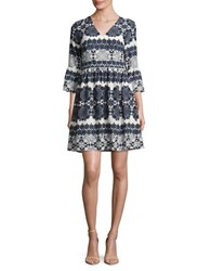 Eliza J Patterned Fit And Flare Dress Navy Ivory