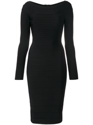 Herve Leger Fitted Midi Dress Women Nylon Spandex Elastane Rayon M Black