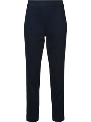 Josie Natori Cropped Straight Leg Trousers Blue