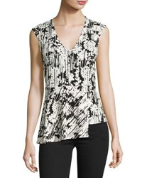 Laundry By Shelli Segal Asymmetric Peplum Floral Print Top Black White